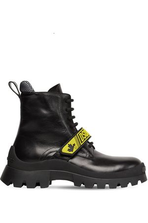 Dsquared2 Women Boots - 30mm Fluo Signature Leather Combat Boots