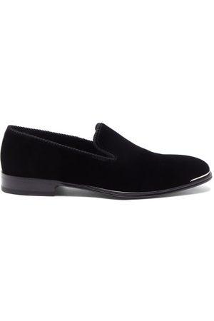 Alexander McQueen Men Loafers - Metal-trim Velvet Loafers - Mens