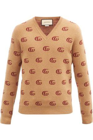 Gucci V-neck Gg-jacquard Wool Sweater - Mens