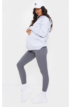 PRETTYLITTLETHING Maternity Slate Contour Ribbed Bump Support Leggings
