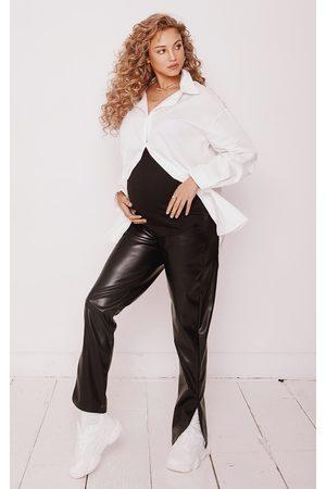 PRETTYLITTLETHING Maternity Faux Leather Split Hem Pants