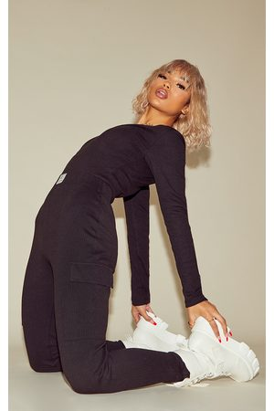 PRETTYLITTLETHING Women Jumpsuits - Thick Rib V Neck Jumpsuit