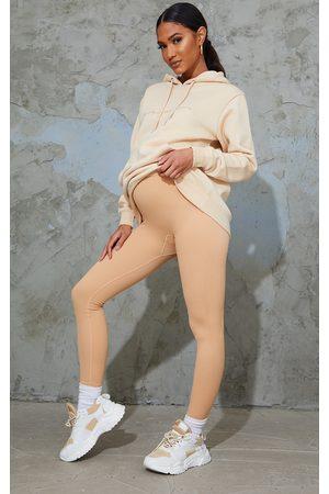 PRETTYLITTLETHING Women Leggings - Maternity Camel Contour Ribbed Bump Support Leggings