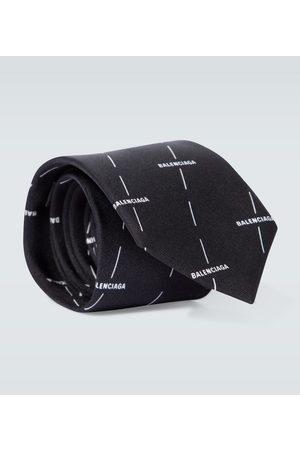 Balenciaga Logo printed silk tie