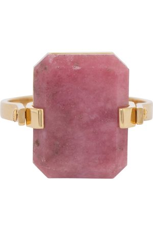 Aliita Deco Sandwich 9kt gold ring with agate and rhodonite