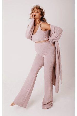 PRETTYLITTLETHING Women Wide Leg Pants - Maternity Taupe Chenille Bralet And Wide Leg Pant Lounge Set