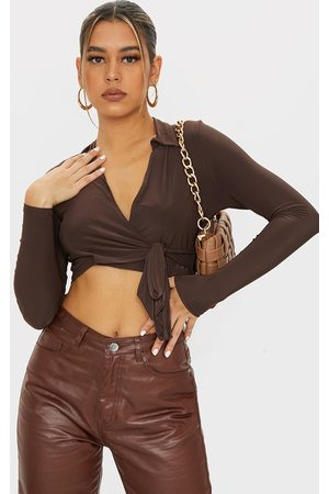 PRETTYLITTLETHING Women Blouses - Chocolate Slinky Tie Front Cropped Blouse