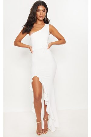 PRETTYLITTLETHING One Shoulder Ruffle Hem Maxi Dress