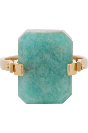 Aliita Deco Sandwich 9kt gold ring with agate and amazonite