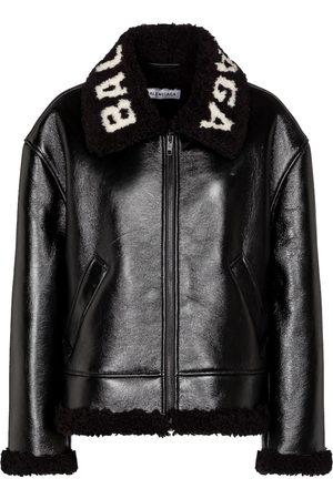 Balenciaga Logo shearling and leather jacket