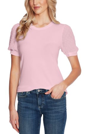 CE&CE Women's Puff Sleeve Mixed Media Top