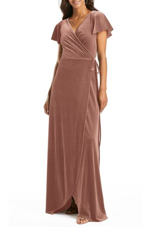 AFTER SIX Women's Flutter Sleeve Velvet Wrap Gown