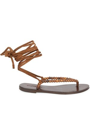 Saint Laurent Women's Gia Ankle-Wrap Beaded Suede Thong Sandals - - Size 41.5 (11.5)