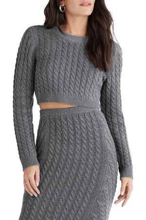 FAVORITE DAUGHTER Women's Crop Cable Knit Sweater