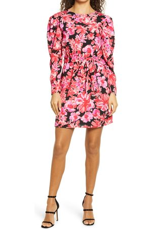 Fraiche by J Women's Kanya Puff Long Sleeve Tie Waist Minidress