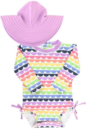 RuffleButts Infant Girl's Rainbow Scallop One-Piece Rashguard Swimsuit & Hat Set