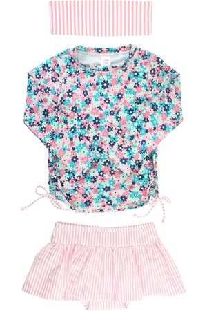 RuffleButts Infant Girl's Water Lilies Two-Piece Rashguard Swimsuit & Head Wrap Set