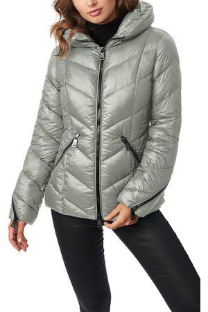 Bernardo Women's Water Resistant Hooded Puffer Coat