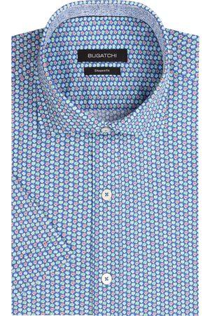 Bugatchi Men's Shaped Fit Microprint Short Sleeve Button-Up Performance Shirt