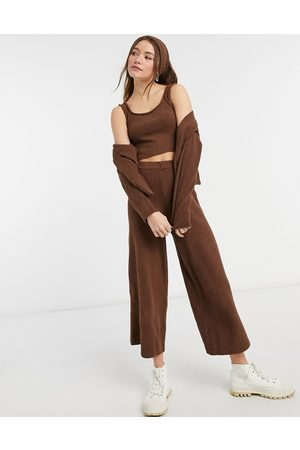 Monki Calah fluffy knitted wide leg pants in 4 piece set