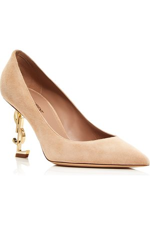 Saint Laurent Women's Opyum Suede Mid Heel Pumps