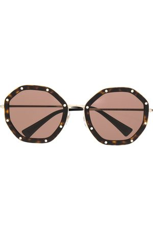 VALENTINO Rhinestone-embellished octagonal-frame sunglasses