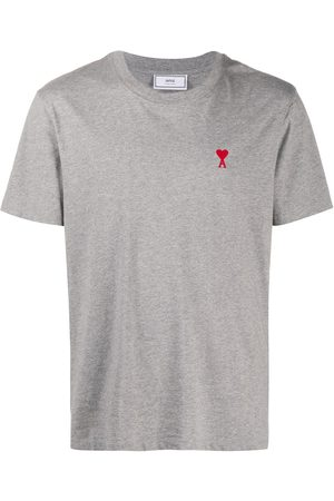 Ami Logo-embroidered short-sleeve T-shirt - Grey