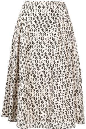 Salvatore Ferragamo Gancini S print midi skirt - Neutrals