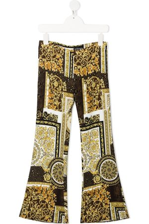 VERSACE Girls Wide Leg Pants - Baroque-print flared trousers
