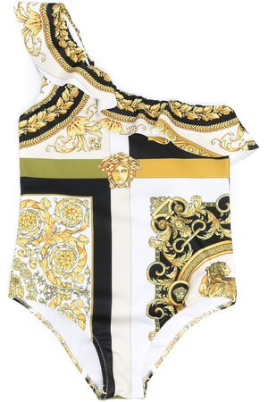 VERSACE Girls Swimsuits - Barocco Mosaic-print one-shoulder swimsuit
