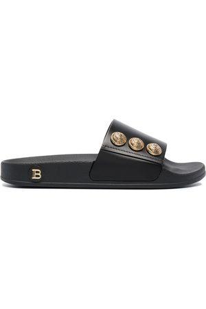 Balmain Button-embellished flat slides