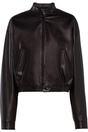 Prada Women Leather Jackets - High-neck zipped jacket