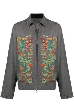 Maharishi Dragon-embroidered shirt jacket - Grey