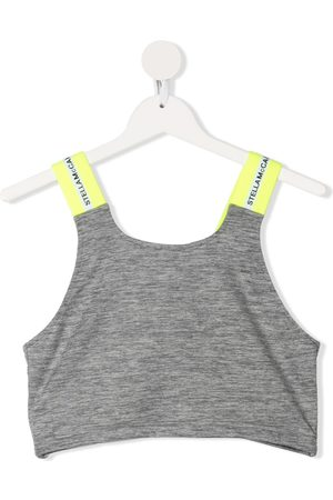 Stella McCartney TEEN logo-tape cropped tank top - Grey