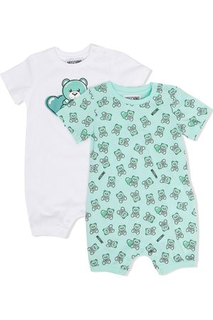 Moschino Teddy-print cotton babygrow set
