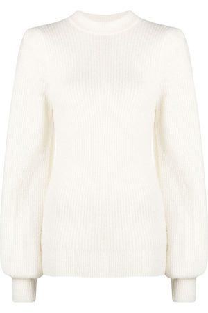 Ganni Rib-knit jumper - Neutrals