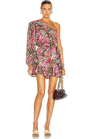 HEMANT AND NANDITA Kilim One Shoulder Mini Dress in Floral