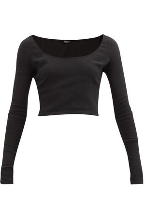 VERSACE Scoop-neck Jersey Crop Top - Womens