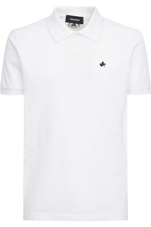 Dsquared2 Maple Leaf Print Cotton Pique Polo