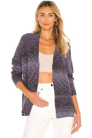 MICHAEL STARS Hallie V Neck Cardigan in Purple,Grey.
