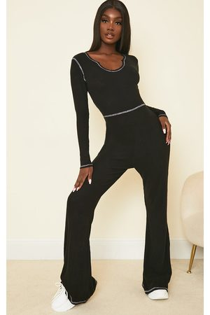 PRETTYLITTLETHING Tall Seam Detail Brushed Rib Flared Jumpsuit