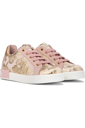 Dolce & Gabbana Leather-trimmed brocade sneakers