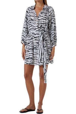 Melissa Odabash Women's Amy Tiger Stripe Long Sleeve Cover-Up Shirtdress