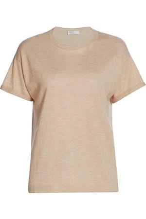 Brunello Cucinelli Women's Cashmere & Silk-Blend Lurex Crewneck T-Shirt - - Size XXS