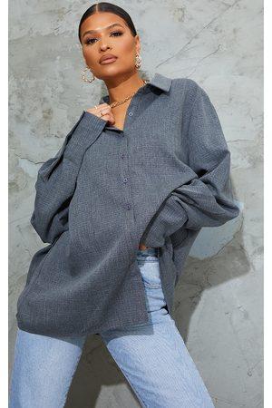 PRETTYLITTLETHING Dark Grey Oversized Cuff Shirt