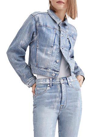 7 for all Mankind Women's Shrunken Foil Denim Jacket - - Size XL