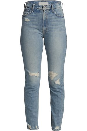 Mother Women's High-Waisted Rider Slim Distressed Jeans - - Size 30 (8)