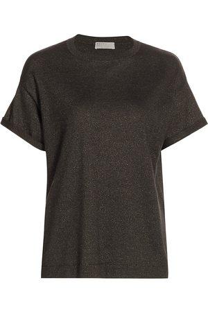 Brunello Cucinelli Women's Cashmere & Silk-Blend Lurex Crewneck T-Shirt - - Size XXL