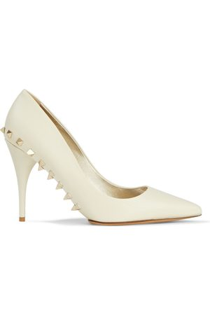 VALENTINO GARAVANI Woman Rockstud Leather Pumps Ivory Size 35.5