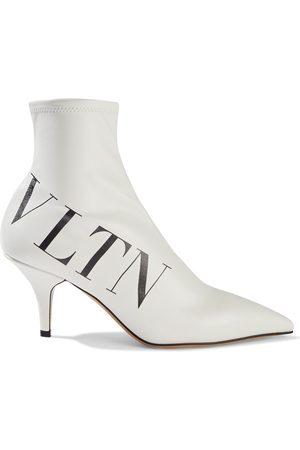 VALENTINO GARAVANI Woman Vltn Printed Faux Stretch-leather Sock Boots Size 36.5